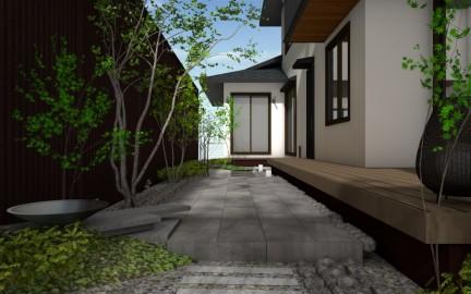 和モダンな庭デザイン
